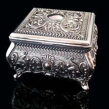 GORGEOUS Antique/Vintage Style Embossed Silver Plated Square Jewellery Box