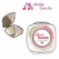 Personalised Best Auntie, Aunt Compact Mirror Birthday, Christmas Keepsake Gift.
