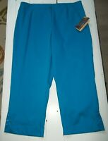 Multiples turquoise capri pants with jeweled trim women's size 14 NWT