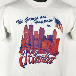 Atlanta Olympic Games T Shirt Vintage 90s 1996 Skyline Cityscape Small DEADSTOCK