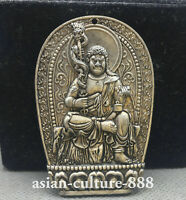 65MM Chinese Miao Silver Fudo Myo-o / Acalanatha Buddhism Buddha Pendant Amulet