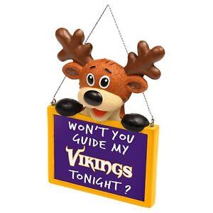 Minnesota Vikings Reindeer with Sign Resin Holiday Christmas Tree Ornament New