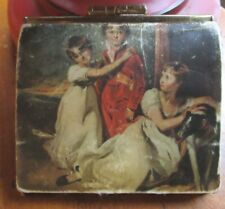 Vintage Victorian Coin Purse-2 Compartment Leather Black Art 4""