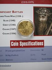 East Caribbean States ECCB 2003 King Edward III $2 Gold Plated Piedfort Coin