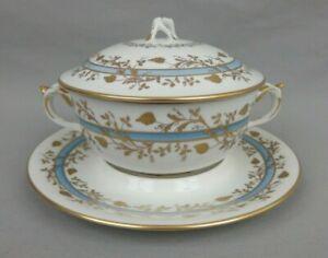 Antique Le Tallec Paris France Porcelain Tureen Decor With Grapes Gold