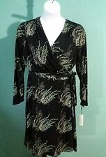 Vicky Tiel Black Pink & Green Foral Print  Jersey Travel Knit Wrap Dress (XL)