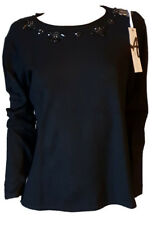 Maglia  Maglione Pullover Elegante Aderente Donna con Perline Girocollo Nera L