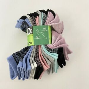 Felina Women Socks 10 Pack Rayon From Bamboo Super Soft No Show Multi Color New