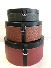 Vintage Leather (not sure if real or faux),Suede lined(real)3 Nesting Hat Boxes