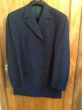 IMMACULATE GREAT MENS WOOL BLEND DARK BLUE TWO PIECE TROUSER SUIT  BLAKES 42/36