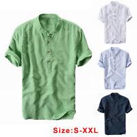 Men's Linen Short Sleeve Shirt Summer Cool Loose Casual V-Neck Shirts Tops M-3XL