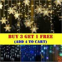 96LED Hanging Snowflake Curtain String Lights Fairy Christmas Party Decorations