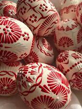 """Czech traditional Easter Egg """"Kraslice"""" (Europe)-Chicken Egg-White egg/red wax"""