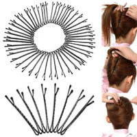 60 Pcs Metal Hair Clips Waved Bobby Salon Pins Grip Hairpins Barrette Black