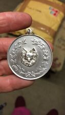 More details for original fully hallmarked silver papillon butterfly  dog award medal,pendant