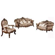 Best Master Winfrey 3-Pc Solid Wood and Chenille Living Room Set in Cherry