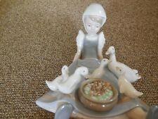 "Lladro figurine ""My Hungry Brood"" #5074 Retired glazed Seated girl feeding ducks"