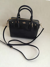 COACH F36624 Black Cross Grain Leather Satchel Crossbody Bag Purse NEW with Tags