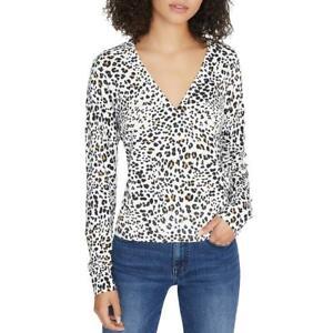 Sactuary Womens XOXO Animal Print Faux Wrap Shirt Pullover Sweater Top BHFO 0851
