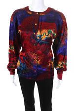 Escada Womens Silk Tropical Print Long Sleeve Button Blouse Red Size 40