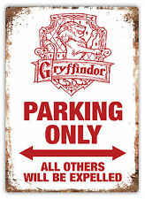 Small- Gryffindor Parking Only - Metal Wall Plaque Art Sign - Potter House Harry