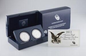 2012-S American Eagle San Francisco Two-Coin Silver Set w/ Box, CoA, and Case
