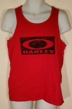 Oakley Men's Red Tank Top Size Small Logo Print