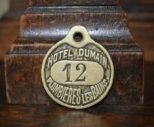 One Antique Rare French Brass Numbered Key Tag Hotel Dumain Plombieres Les Bains