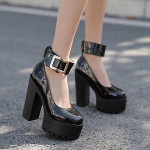 Women Platform High Heels Punk Ankle Strap Buckle Pumps Round Toe Shoes Clubwear