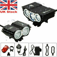 LED Mountain Bike Lights Bicycle Torch Front & Rear Lamp Rechargeable 4x18650 UK