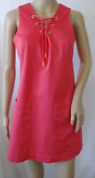 Calvin Klein Sleeveless Shift Dress Size 6P Coral Pink Lace Up Front Pockets