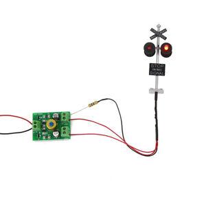 1set échelle HO signalisation de passage à niveau 4 têtes LED + Flasher conseil