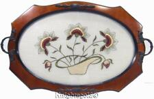 Serving Tray Wood Glass Needlepoint Embroidery Flowers in Basket Brass Handle