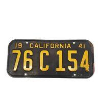 1941 California License Plate # 76 C 154 Super Nice Original Black Cali Rat Rod