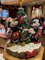 "Disney Parks Mickey&Minnie Christmas Tree Farm Light Up Medium Figurine NIB 16"""