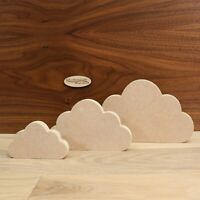 Freestanding MDF Clouds 18mm Thick, Wooden, Shape, Craft, 10cm - 20cm, Set of 3