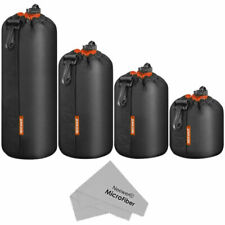 Neewer Camera 4 Cases in 4 Sizes Lens Pouch Thick Protective Bag with Drawstring Design Universal - Black