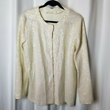 Medium JOAN RIVER Cream Colored Sequined Cardigan, Button Front, Round Neck