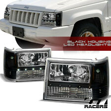1993-1998 GRAND CHEROKEE BLK DRL LED HEADLIGHTS+BUMPER CORNER SIGNAL LAMPS AM AW