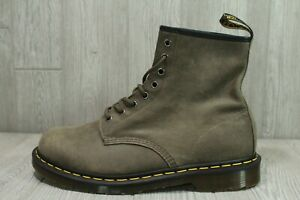 65 New Dr. Martens 24540 Combat Boots Soft Suede Green/Gray Men's Size 11 12