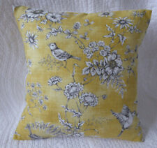Yellow Cushion Cover 16 x 16 inch Bird Print Mustard Yellow Grey Handmade 40cm