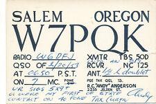 A9625   1953  POSTCARD  QSL RADIO CARD SALEM ORE OREGON ANDY ANDERSON