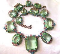 Juliana Style Czech Peridot Green Pink Blue Accents  Rhinestone & Glass Necklace