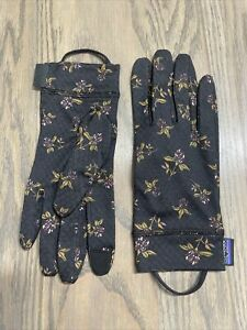 New Patagonia Capilene Midweight Black Floral Liner Gloves Women's Small