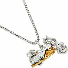 Anhänger Motorrad 925 Sterling Silber Rhodiniert Teilvergoldet