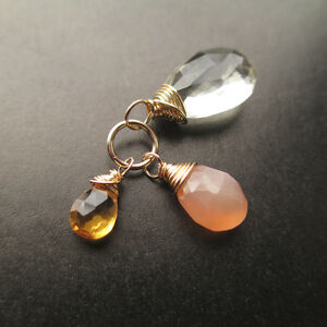 Green Amethyst, Peach Moonstone, Citrine Gemstone Pendant