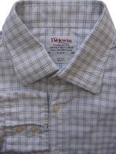 TM LEWIN LUXURY Shirt Mens 16 M White - Blue Check SLIM FIT