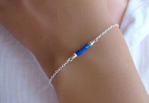 Bracelet Argent et lapis lazuli, Pierres naturelles bleues, Bracelet fin, BR04A