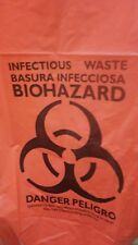 "BIOHAZARD Trash Bags 1.60 mil Can Liner Red WASTE  30Gal 30""x43"""