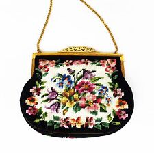 Petit Point Floral Purse Evening Handbag Made in Austria Satin Lining Pansy